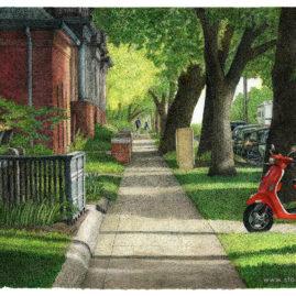 Sidewalk with Vespa
