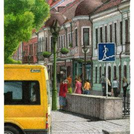 Vilniaus Street with Minibus