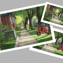 Sidewalk with Vespa – Large
