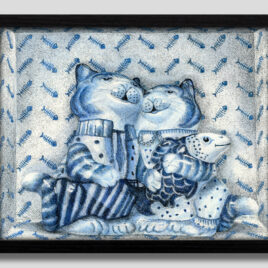 Porcelain Cats with Fish Medium