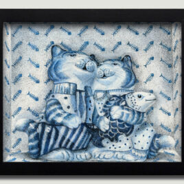 Porcelain Cats with Fish Small