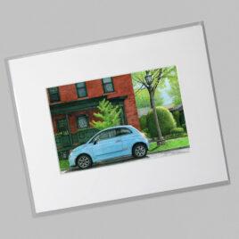 Spring Foliage, Blue Fiat (Mini)