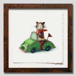 Toy Cat in Car Mini honey